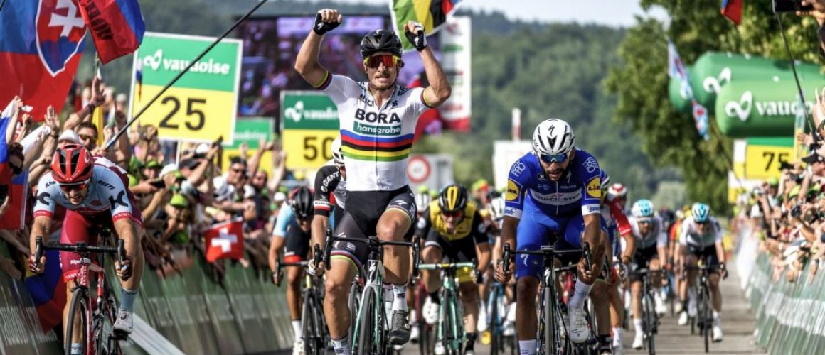 Llegada de Peter Sagan a la meta en la vuelta a suiza 2018